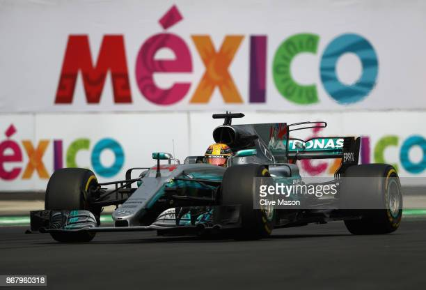 Lewis Hamilton of Great Britain driving the Mercedes AMG Petronas F1 Team Mercedes F1 WO8 on track during the Formula One Grand Prix of Mexico at...