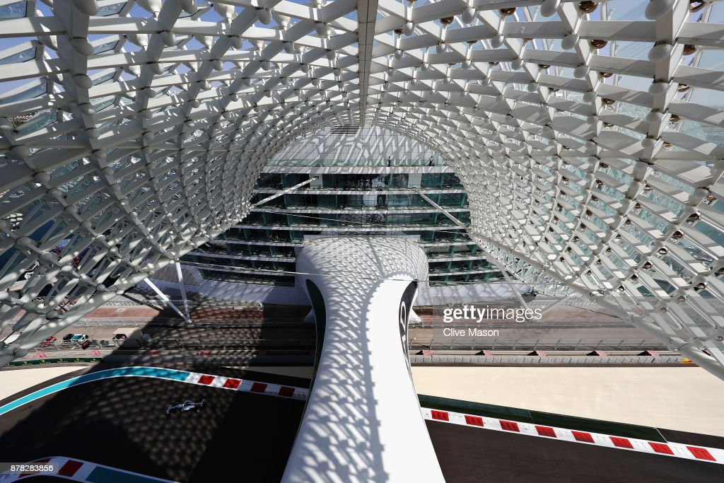 Lewis Hamilton of Great Britain driving the (44) Mercedes AMG Petronas F1 Team Mercedes F1 WO8 on track during practice for the Abu Dhabi Formula One Grand Prix at Yas Marina Circuit on November 24, 2017 in Abu Dhabi, United Arab Emirates.
