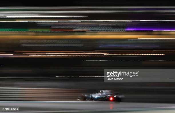 Lewis Hamilton of Great Britain driving the Mercedes AMG Petronas F1 Team Mercedes F1 WO8 on track during practice for the Abu Dhabi Formula One...