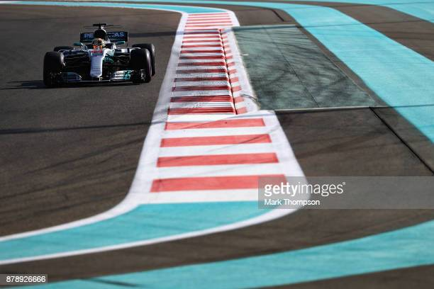 Lewis Hamilton of Great Britain driving the Mercedes AMG Petronas F1 Team Mercedes F1 WO8 on track during final practice for the Abu Dhabi Formula...