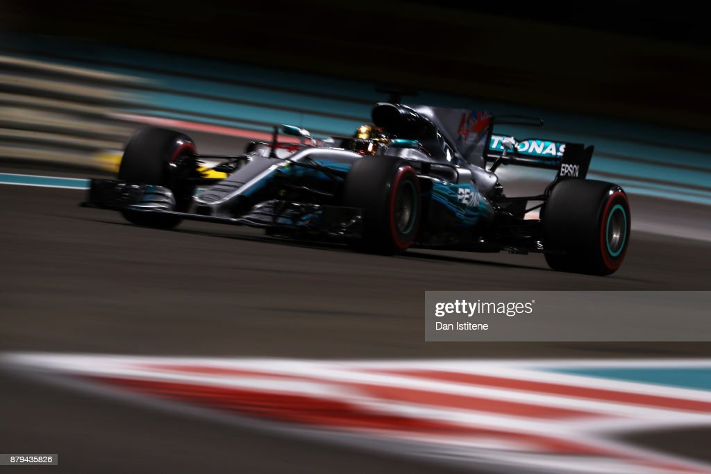 Lewis Hamilton of Great Britain driving the (44) Mercedes AMG Petronas F1 Team Mercedes F1 WO8 on track during the Abu Dhabi Formula One Grand Prix at Yas Marina Circuit on November 26, 2017 in Abu Dhabi, United Arab Emirates.