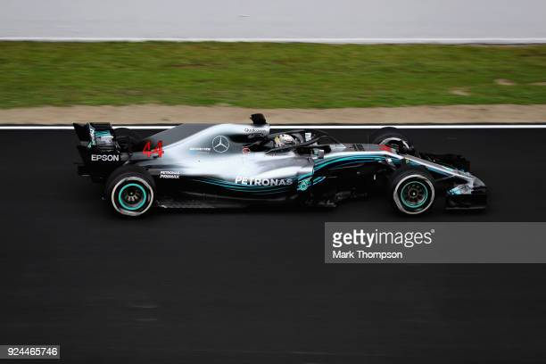 Lewis Hamilton of Great Britain driving the Mercedes AMG Petronas F1 Team Mercedes WO9 on track during day one of F1 Winter Testing at Circuit de...