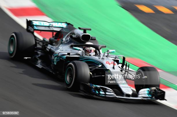 Lewis Hamilton of Great Britain driving the Mercedes AMG Petronas F1 Team Mercedes WO9 on track during day four of F1 Winter Testing at Circuit de...