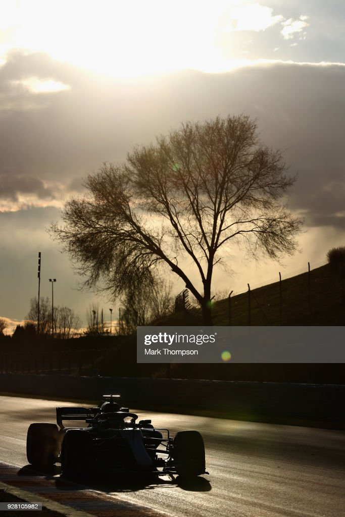Lewis Hamilton of Great Britain driving the (44) Mercedes AMG Petronas F1 Team Mercedes WO9 on track during day one of F1 Winter Testing at Circuit de Catalunya on March 6, 2018 in Montmelo, Spain.