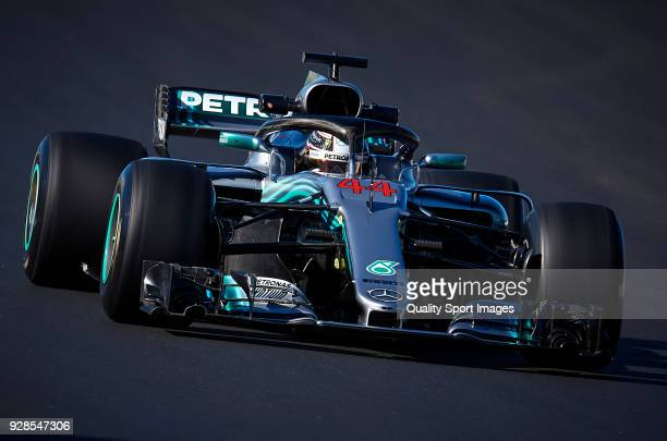 Lewis Hamilton of Great Britain driving the Mercedes AMG Petronas F1 Team Mercedes WO9 during day two of F1 Winter Testing at Circuit de Catalunya on...