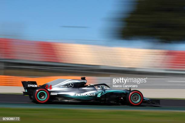 CATALUNYA MONTMELò BARCELONA SPAIN Lewis Hamilton of Great Britain driving the Mercedes AMG Petronas F1 Team Mercedes WO9 on track during day two of...