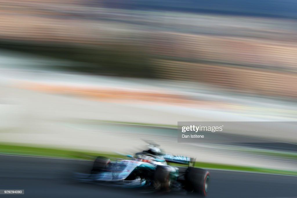 Lewis Hamilton of Great Britain driving the (44) Mercedes AMG Petronas F1 Team Mercedes WO9 on track during day three of F1 Winter Testing at Circuit de Catalunya on March 8, 2018 in Montmelo, Spain.