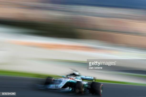 Lewis Hamilton of Great Britain driving the Mercedes AMG Petronas F1 Team Mercedes WO9 on track during day three of F1 Winter Testing at Circuit de...