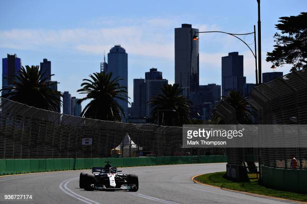 Lewis Hamilton of Great Britain driving the Mercedes AMG Petronas F1 Team Mercedes WO9 on track during practice for the Australian Formula One Grand...