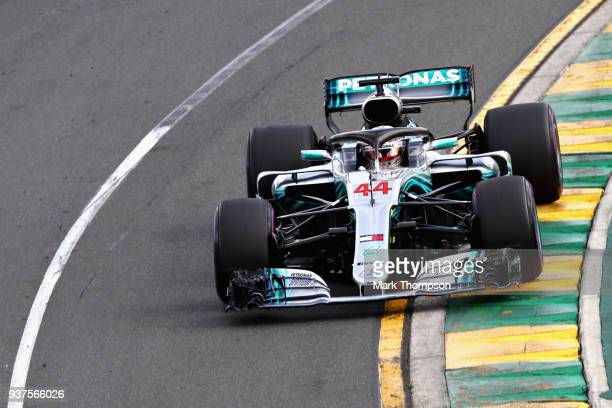 Lewis Hamilton of Great Britain driving the Mercedes AMG Petronas F1 Team Mercedes WO9 on track during the Australian Formula One Grand Prix at...