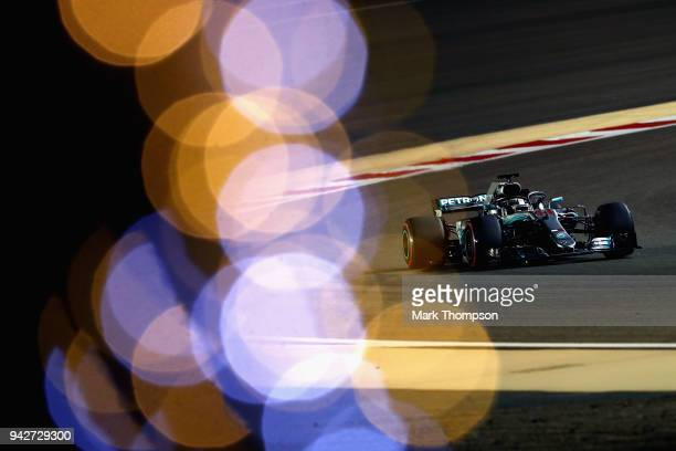 Lewis Hamilton of Great Britain driving the Mercedes AMG Petronas F1 Team Mercedes WO9 on track during practice for the Bahrain Formula One Grand...