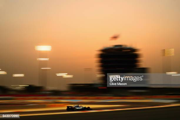Lewis Hamilton of Great Britain driving the Mercedes AMG Petronas F1 Team Mercedes WO9 on track before the Bahrain Formula One Grand Prix at Bahrain...