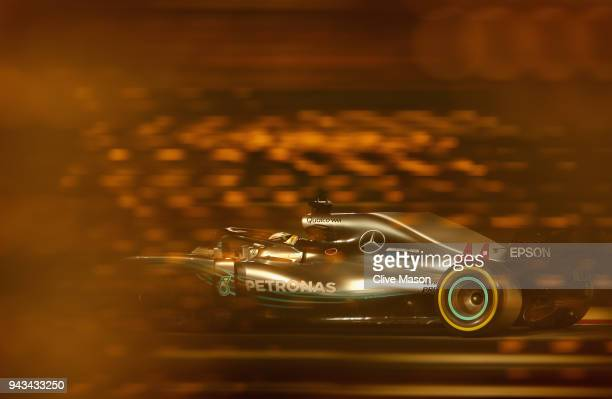 Lewis Hamilton of Great Britain driving the Mercedes AMG Petronas F1 Team Mercedes WO9 on track during the Bahrain Formula One Grand Prix at Bahrain...