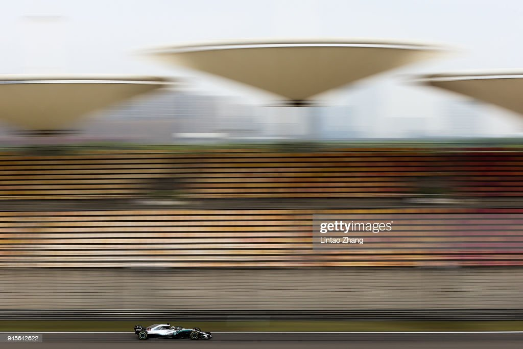 Lewis Hamilton of Great Britain driving the (44) Mercedes AMG Petronas F1 Team Mercedes WO9 on track during practice for the Formula One Grand Prix of China at Shanghai International Circuit on April 13, 2018 in Shanghai, China.