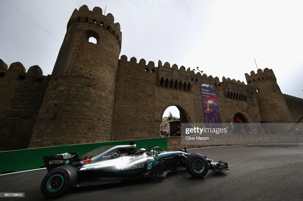 Lewis Hamilton of Great Britain driving the (44) Mercedes AMG Petronas F1 Team Mercedes WO9 on track during the Azerbaijan Formula One Grand Prix at Baku City Circuit on April 29, 2018 in Baku, Azerbaijan.
