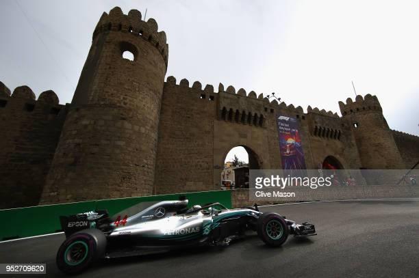 Lewis Hamilton of Great Britain driving the Mercedes AMG Petronas F1 Team Mercedes WO9 on track during the Azerbaijan Formula One Grand Prix at Baku...