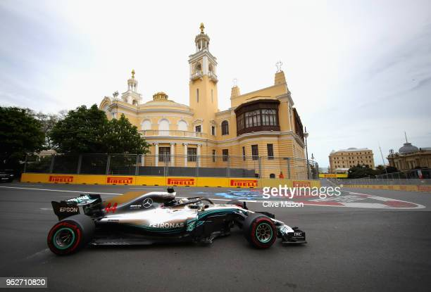Lewis Hamilton of Great Britain driving the Mercedes AMG Petronas F1 Team Mercedes WO9 on track during the Azerbaijan Formula One Grand Prix at Baku...