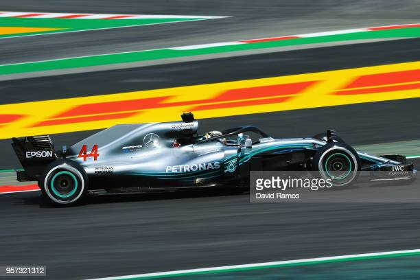 Lewis Hamilton of Great Britain driving the Mercedes AMG Petronas F1 Team Mercedes WO9 on track during practice for the Spanish Formula One Grand...