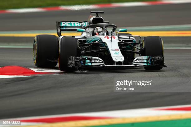 Lewis Hamilton of Great Britain driving the Mercedes AMG Petronas F1 Team Mercedes WO9 on track during qualifying for the Spanish Formula One Grand...