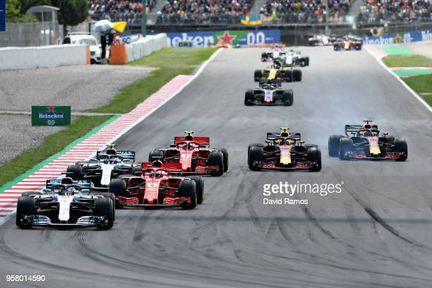 Lewis Hamilton of Great Britain driving the Mercedes AMG Petronas F1 Team Mercedes WO9 leads at the restart during the Spanish Formula One Grand Prix...
