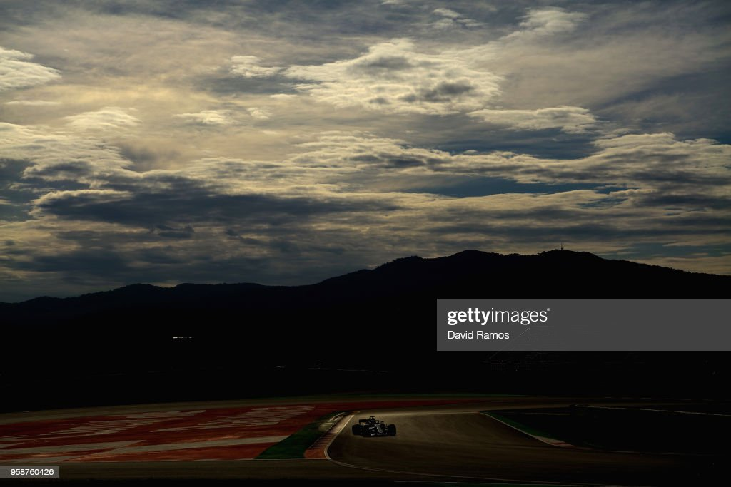 Lewis Hamilton of Great Britain driving the (44) Mercedes AMG Petronas F1 Team Mercedes WO9 on track during day one of F1 testing at Circuit de Catalunya on May 15, 2018 in Montmelo, Spain.