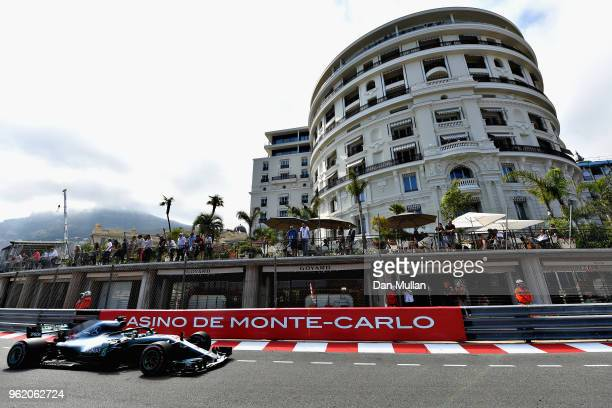 Lewis Hamilton of Great Britain driving the Mercedes AMG Petronas F1 Team Mercedes WO9 on track during practice for the Monaco Formula One Grand Prix...