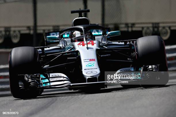 Lewis Hamilton of Great Britain driving the Mercedes AMG Petronas F1 Team Mercedes WO9 on track during final practice for the Monaco Formula One...