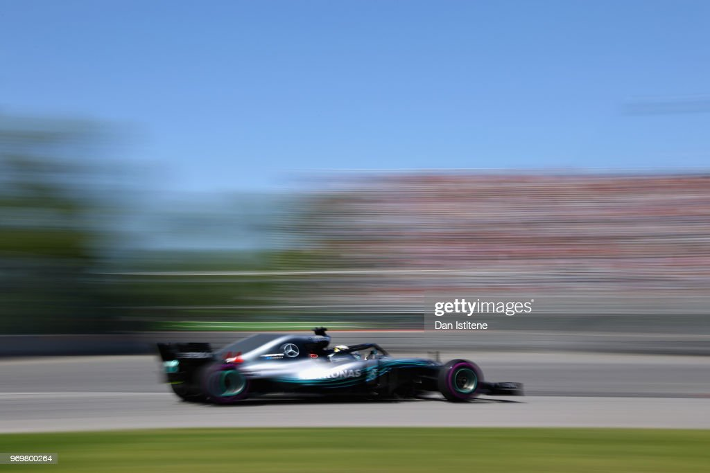 Lewis Hamilton of Great Britain driving the (44) Mercedes AMG Petronas F1 Team Mercedes WO9 on track during practice for the Canadian Formula One Grand Prix at Circuit Gilles Villeneuve on June 8, 2018 in Montreal, Canada.