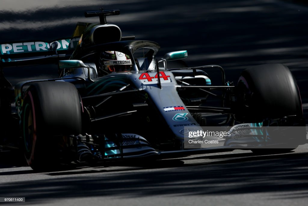 Lewis Hamilton of Great Britain driving the (44) Mercedes AMG Petronas F1 Team Mercedes WO9 on track during qualifying for the Canadian Formula One Grand Prix at Circuit Gilles Villeneuve on June 9, 2018 in Montreal, Canada.