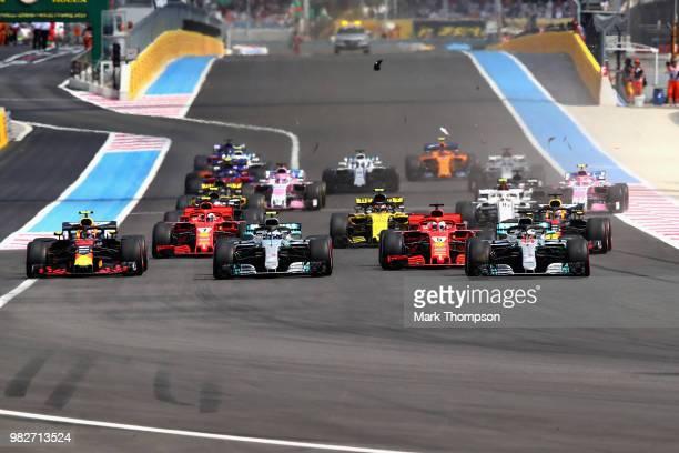 Lewis Hamilton of Great Britain driving the Mercedes AMG Petronas F1 Team Mercedes WO9 Valtteri Bottas driving the Mercedes AMG Petronas F1 Team...