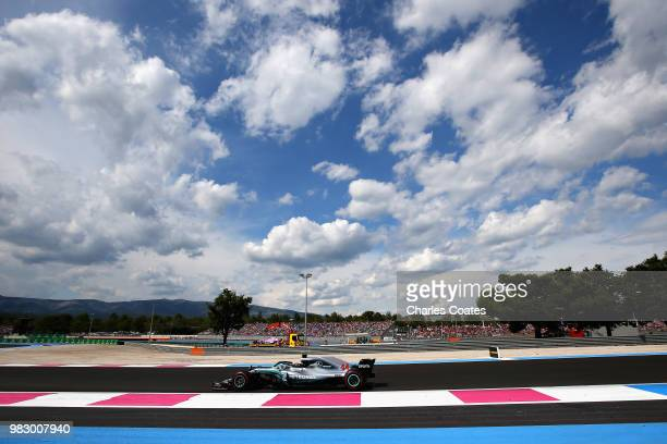 Lewis Hamilton of Great Britain driving the Mercedes AMG Petronas F1 Team Mercedes WO9 on track during the Formula One Grand Prix of France at...