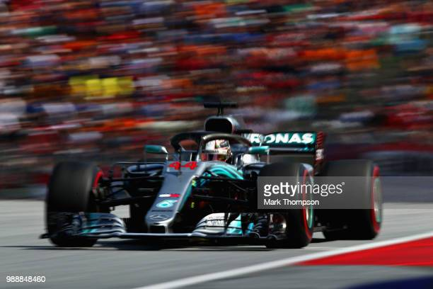 Lewis Hamilton of Great Britain driving the Mercedes AMG Petronas F1 Team Mercedes WO9 on track during the Formula One Grand Prix of Austria at Red...