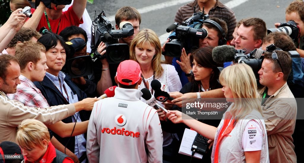 Lewis Hamilton of Great Britain speaks to the media during the previews to the German Grand Prix at Nurburgring on July 19, 2007 in Nurburg, Germany.