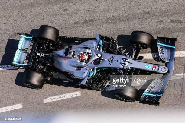Lewis Hamilton of Great Britain with 44 Mercedes AMG Petronas Motorsport W10 in action during the Formula 1 2019 PreSeason Tests at Circuit de...