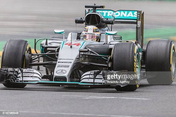 Lewis Hamilton of Mercedes AMG Petronas attends the first practice session of the 2016 Formula 1 Rolex Australian Grand Prix at Albert Park circuit...