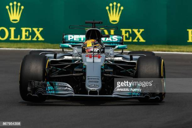 Lewis Hamilton of Mercedes AMG Petronas drives during the Formula One Grand Prix of Mexico at Autodromo Hermanos Rodriguez in Mexico City Mexico on...