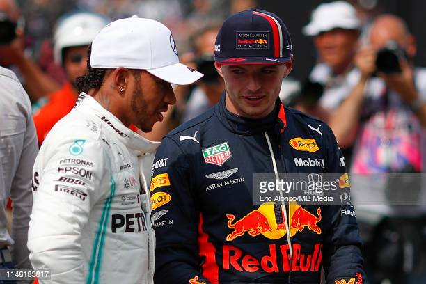 Lewis Hamilton of Mercedes AMG Petronas Formula One Team and Max Verstappen of Aston Martin RedBull Racing during qualifying for the F1 Grand Prix of...