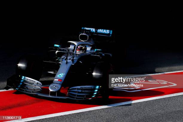 Lewis Hamilton of Mercedes AMG Petronas Formula One Team during day four of F1 Winter Testing at Circuit de Catalunya on March 1, 2019 in Montmelo,...
