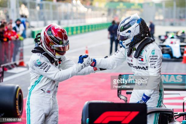 Lewis Hamilton of Mercedes and Great Britain and Valterri Bottas of Mercedes and Finland during the F1 Grand Prix of Azerbaijan at Baku City Circuit...