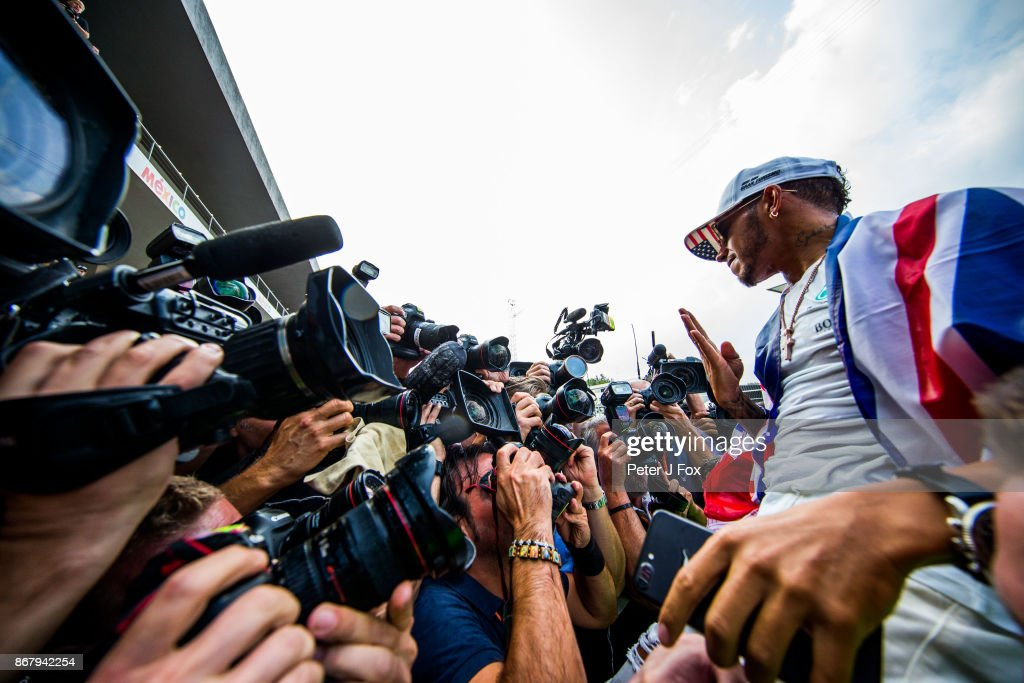 Lewis Hamilton of Mercedes and Great Britain celebrates becoming the 2017 Formula One Drivers World Champion during the Formula One Grand Prix of Mexico at Autodromo Hermanos Rodriguez on October 29, 2017 in Mexico City, Mexico.