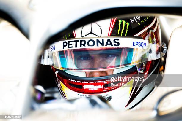 Lewis Hamilton of Mercedes and Great Britain during practice for the F1 Grand Prix of Hungary at Hungaroring on August 02, 2019 in Budapest, Hungary.