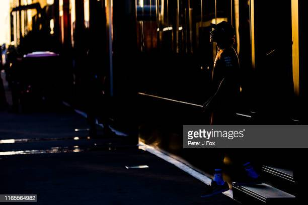 Lewis Hamilton of Mercedes and Great Britain during previews ahead of the F1 Grand Prix of Hungary at Hungaroring on August 01 2019 in Budapest...