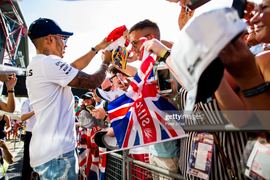 Lewis Hamilton of Mercedes and Great Britain during previews ahead of the Formula One Grand Prix of Great Britain at Silverstone on July 5, 2018 in Northampton, England.