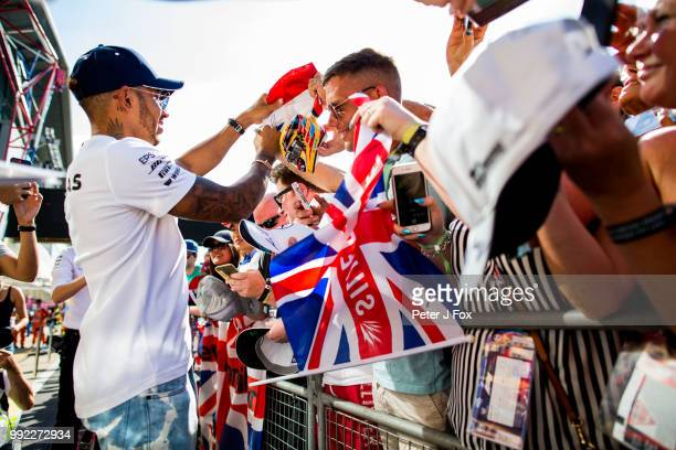Lewis Hamilton of Mercedes and Great Britain during previews ahead of the Formula One Grand Prix of Great Britain at Silverstone on July 5 2018 in...