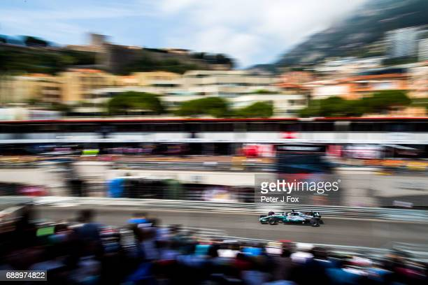Lewis Hamilton of Mercedes and Great Britain during qualifying for the Monaco Formula One Grand Prix at Circuit de Monaco on May 27, 2017 in...