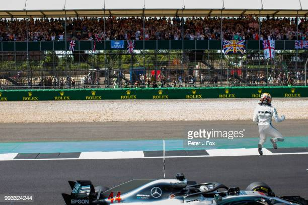 Lewis Hamilton of Mercedes and Great Britain during qualifying for the Formula One Grand Prix of Great Britain at Silverstone on July 7 2018 in...