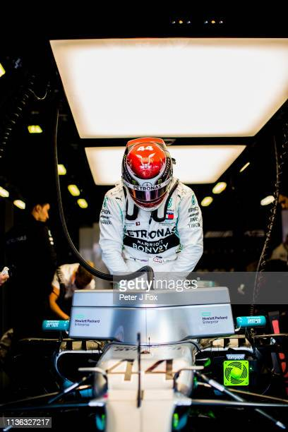 Lewis Hamilton of Mercedes and Great Britain during the F1 Grand Prix of Australia at Melbourne Grand Prix Circuit on March 17 2019 in Melbourne...