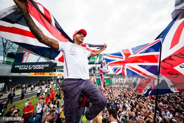 Lewis Hamilton of Mercedes and Great Britain during the F1 Grand Prix of Great Britain at Silverstone on July 14, 2019 in Northampton, England.