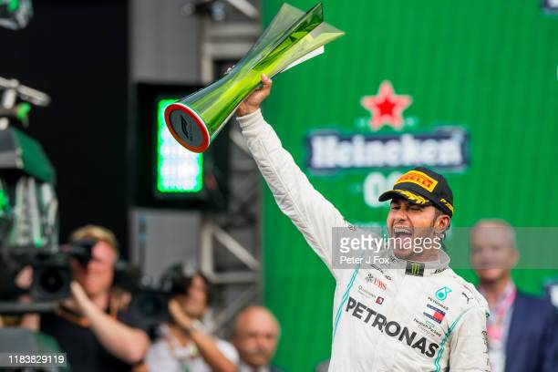 Lewis Hamilton of Mercedes and Great Britain during the F1 Grand Prix of Mexico at Autodromo Hermanos Rodriguez on October 27 2019 in Mexico City...