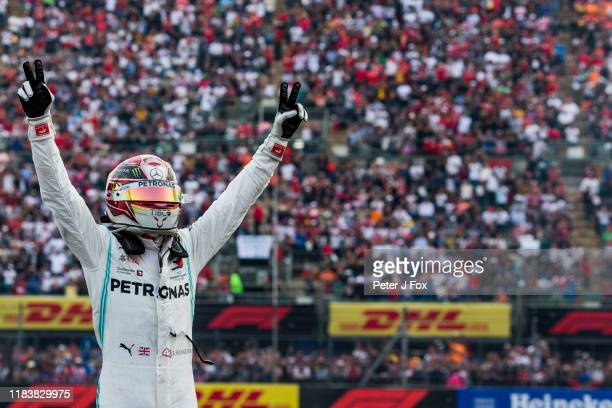 Lewis Hamilton of Mercedes and Great Britain during the F1 Grand Prix of Mexico at Autodromo Hermanos Rodriguez on October 27, 2019 in Mexico City,...